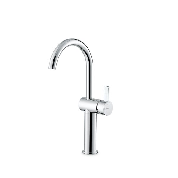 Single lever basin mixer, high version for above counter basin, without pop-up waste set.