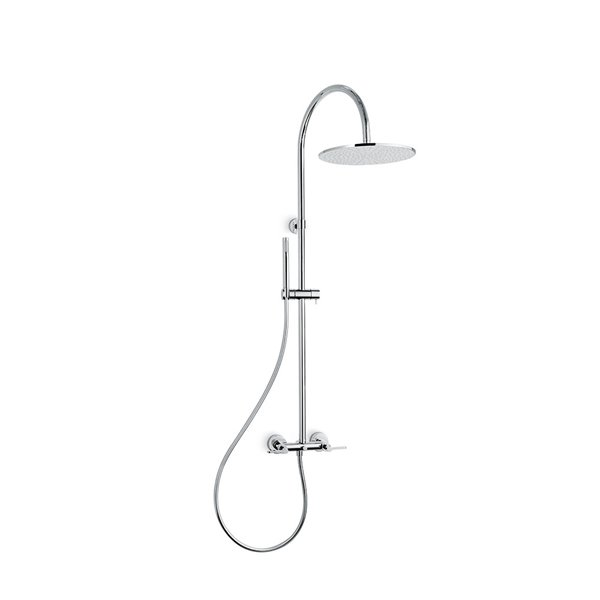 Shower pillar with exposed group complete of diverter, stainless steel head shower and brass single-jet hand shower set.