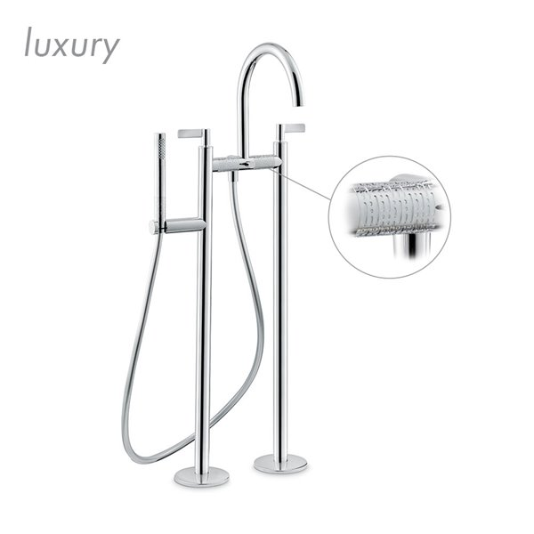 Bathgroup with floor pillar unions, automatic diverter, LL.a50 cm flexible and hand shower.