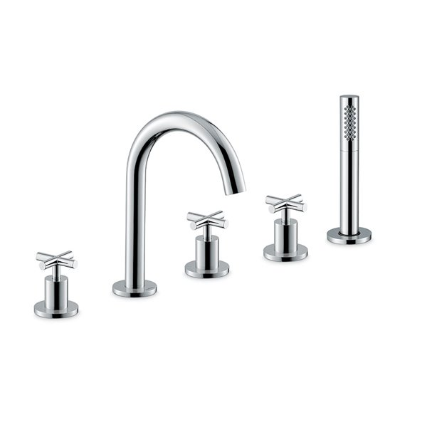 5-hole complete set of: deck mounted mixer, spout, diverter, complete hand shower set.
