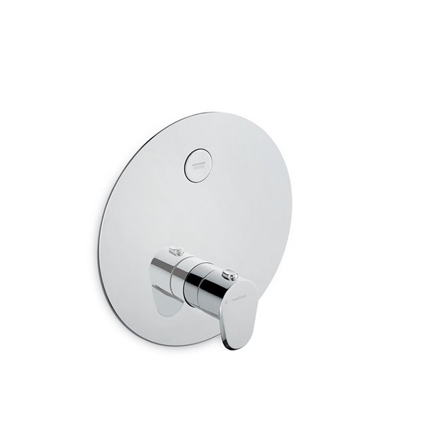 One way out thermostatic concealed mixer with one handle for temperature control and button ON/OFF.