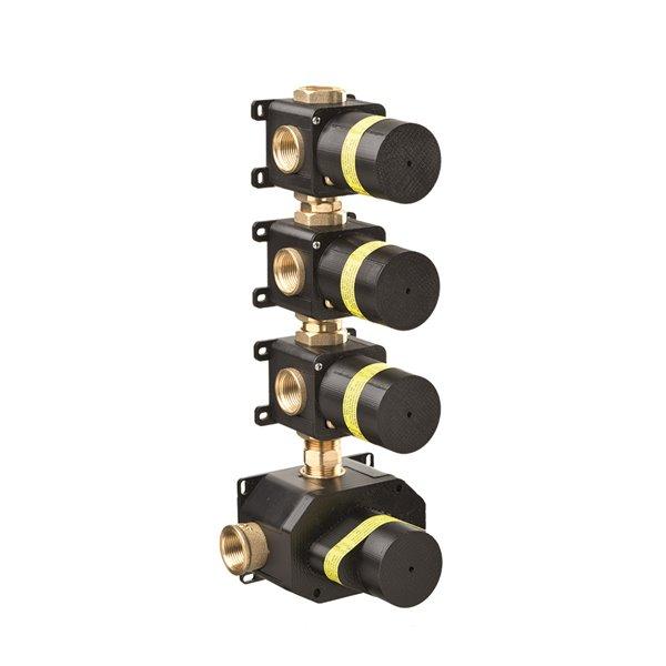 Corpo incasso universale per miscelatori termostatici multiutenza doccia ad incasso con 3 uscite