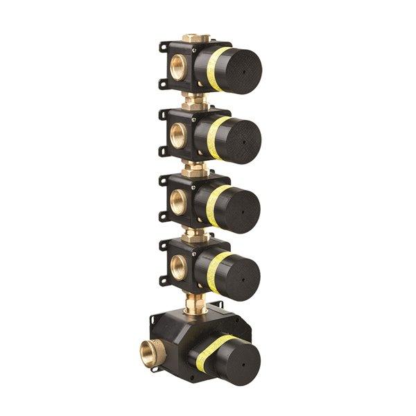 Corpo incasso grezzo universale per miscelatori termostatici multiutenza doccia ad incasso con 4 uscite