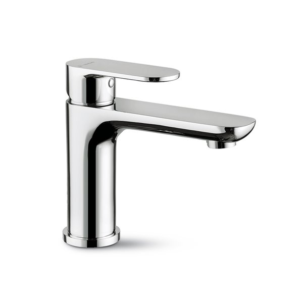 Single-lever basin mixer without pop-up waste set.