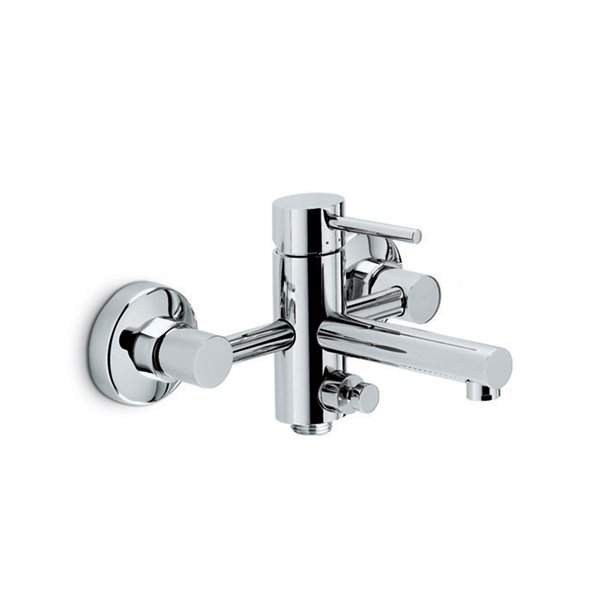 Single-lever exposed bath mixer with automatic diverter