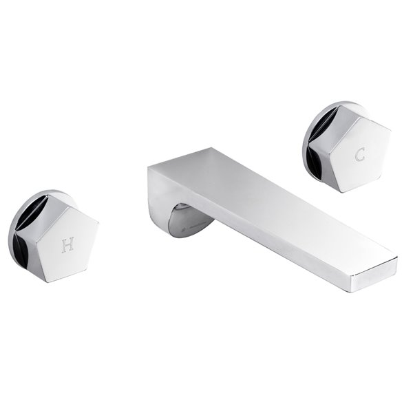 External part 3-hole wall-mounted wash basin group without pop-up waste set.