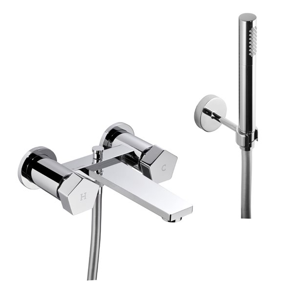 Exposed bath group with automatic diverter, hand shower and 150-cm flexible.