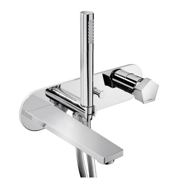 Wall mounted bath group consisting of:single-lever bath mixer, automatic diverter, wall spout. With concealed parts.