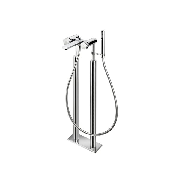Bathgroup with floor pillar unions automatic diverter, LL 150 cm flexible, and brass hand shower.