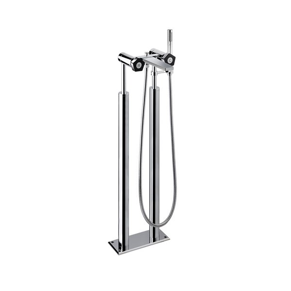"""Bathgroup with floor pillar unions, 1/2"""" valve automatic diverter, brass LL 150 cm flexible, and shower."""