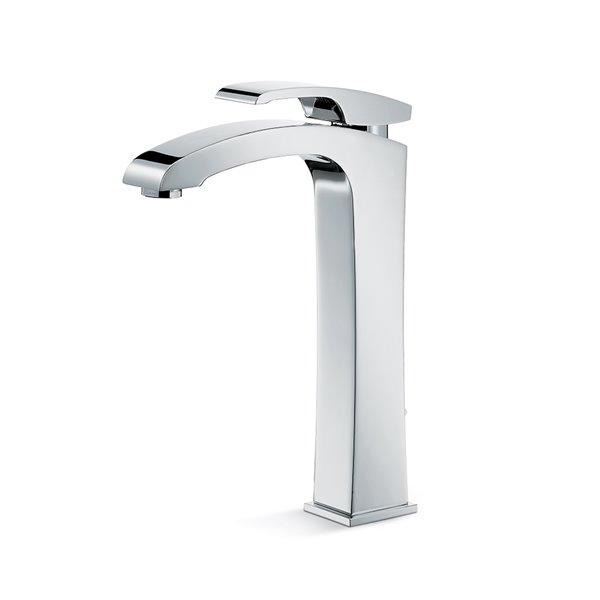 """Miscelatore monocomando, versione alta, per lavabo da appoggio con scarico da 1""""1/4."""