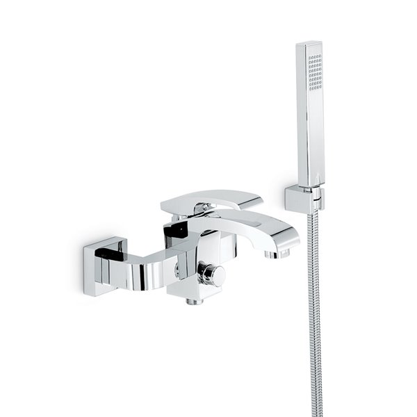Complete bath group with fixed shower holder, flexible, hand shower