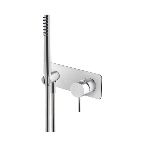 Shower group consisting of: concealed single lever bath mixer with shower set. With plate.