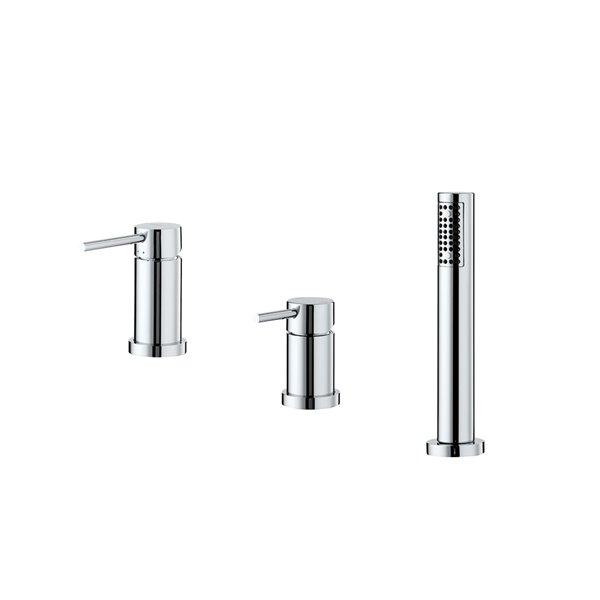 Смеситель на борт ванны  с  переключателемпотоков  и ручным душем из латуни, без излива.