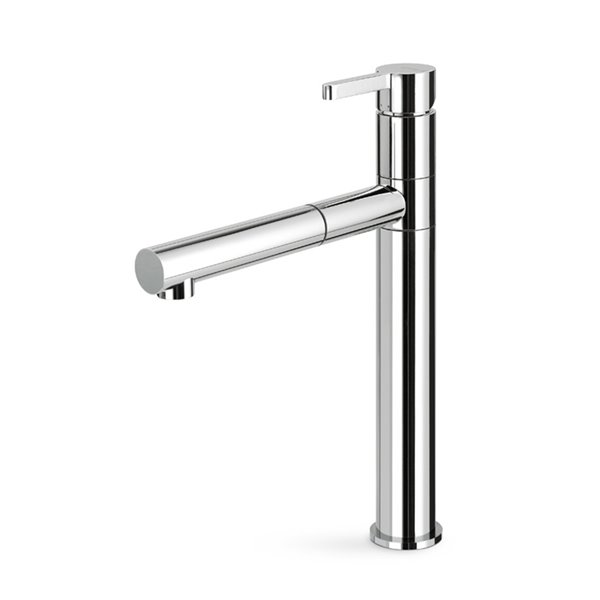 Single-lever sink mixer with swivel spout and single jet pull-out hand shower
