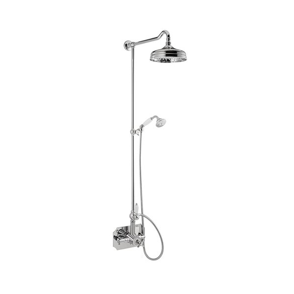Shower pillar with exposed coaxial thermostatic mixer complete of diverter, brass head shower and brass single-jet hand shower set.