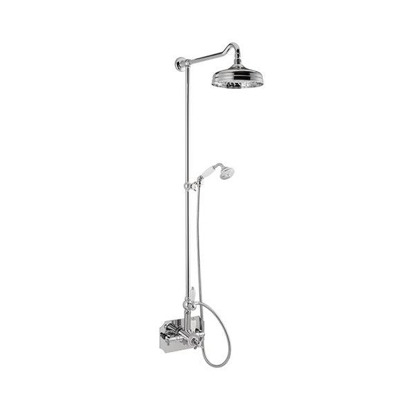 Colonna doccia con miscelatore termostatico coassiale esterno completo di deviatore, soffione in ottone e doccetta monogetto in ottone.