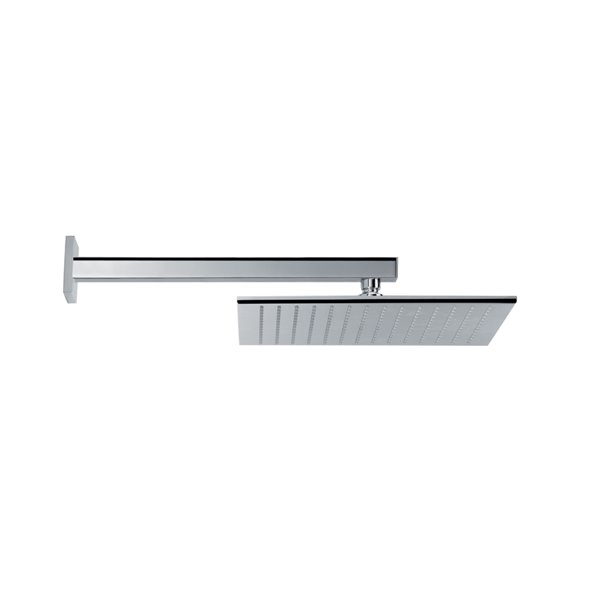 Brass squared wall head shower with raining jet