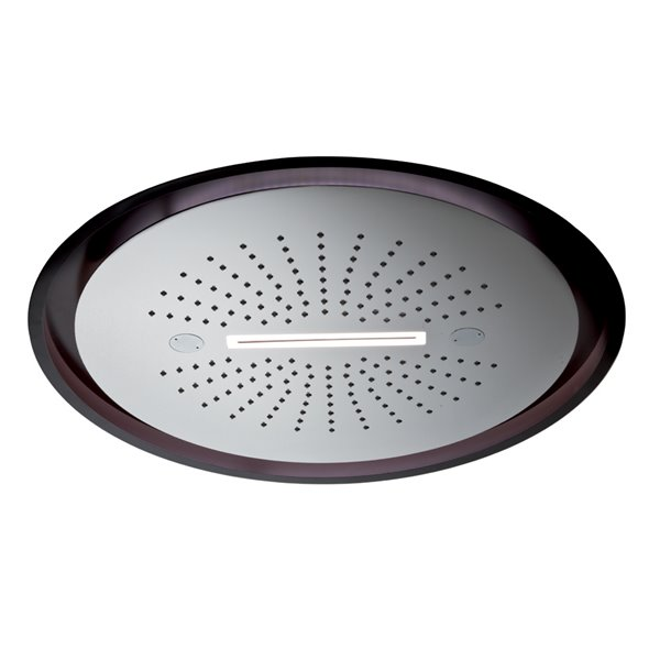 Stainless steel round concealed head shower with raining jet, waterfall jet and integrated lighting system