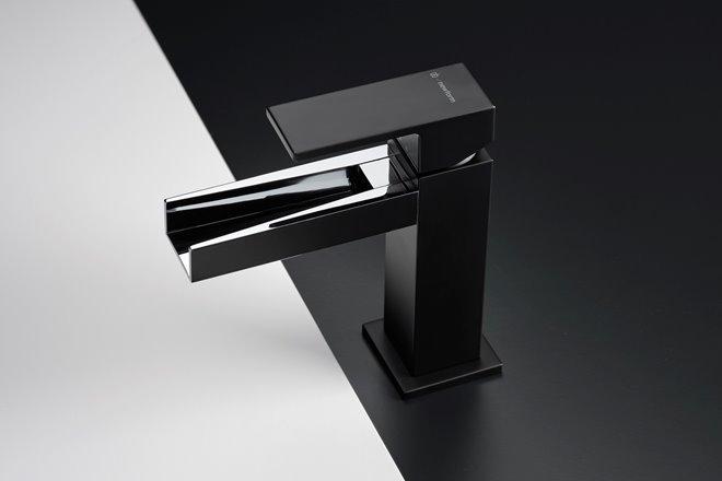Ergo open rubinetto aperto nero opaco e cromo
