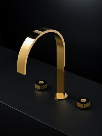 Rubinetto canna alta tre fori maniglie esagonali oro