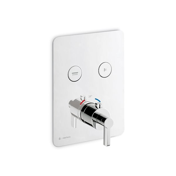 2 ways out thermostatic concealed mixer with one handle for temperature control and button ON/OFF.