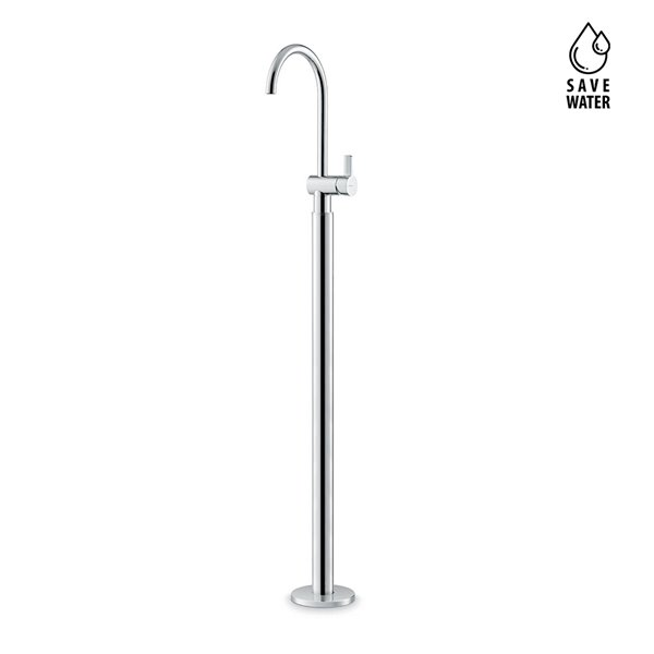 Single lever basin mixer with floor pillar union. Without pop-up waste set.