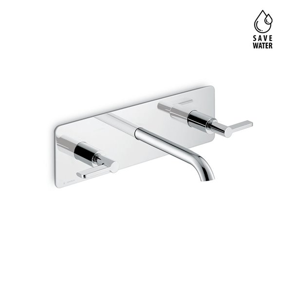 External part 3-hole wall-mounted wash basin group, single cover plate, without pop-up waste set.