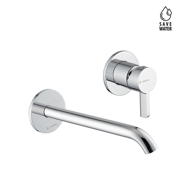 Single lever wall mixer group, without pop -up waste set. Long spout.