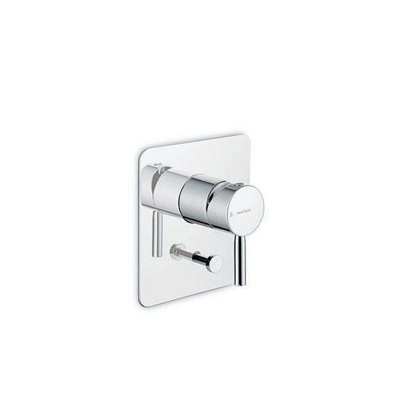 """Single lever concealed mixer with two ways out diverter, 1/2"""" connections."""