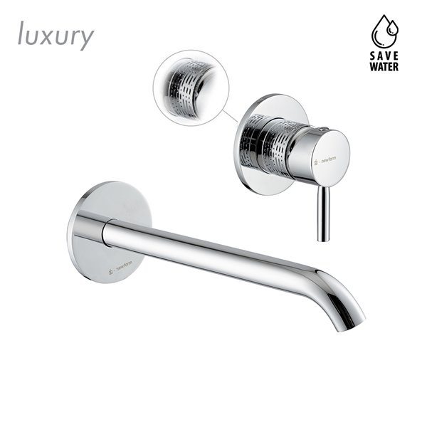 Single lever wall mixer group, without pop-up waste set. Long spout.