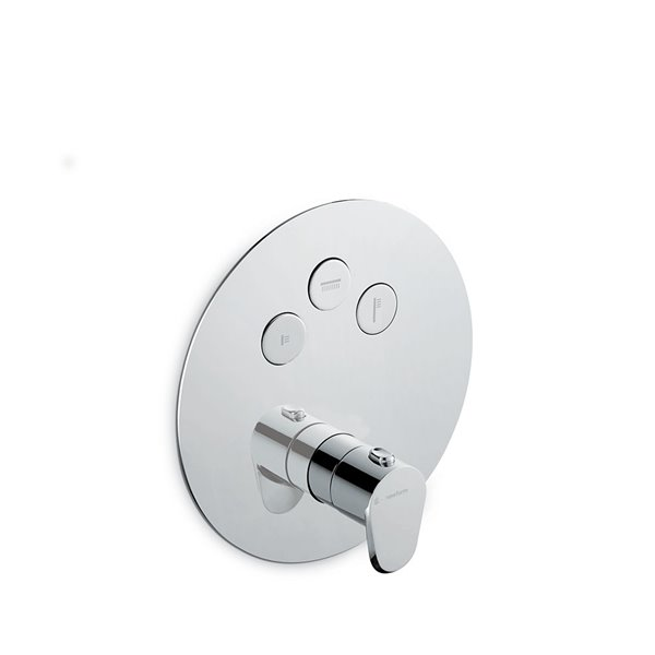 3 ways out thermostatic concealed mixer with one handle for temperature control and button ON/OFF.