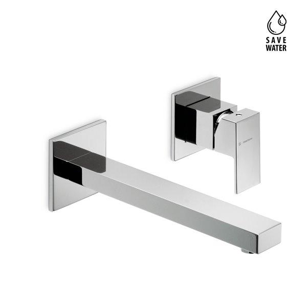 Esternal part basin group consisting of: single-lever wall mixer without pop-up waste set.