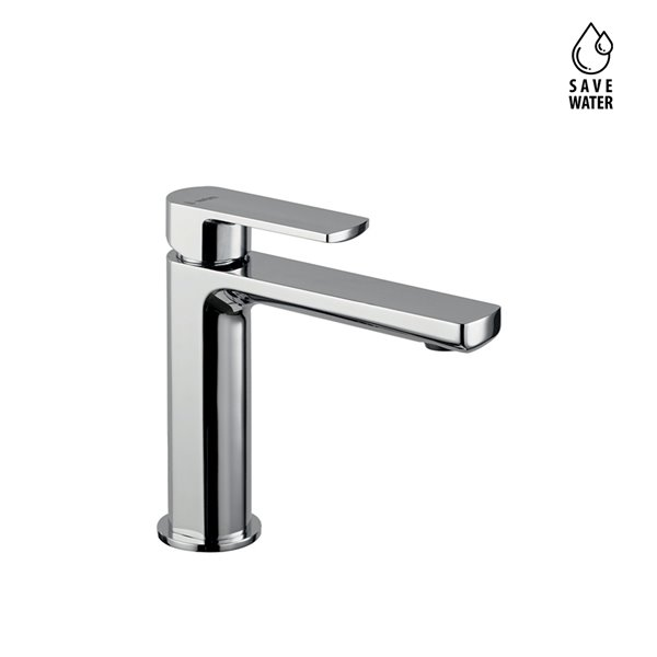 Single lever basin mixer without pop-up waste set