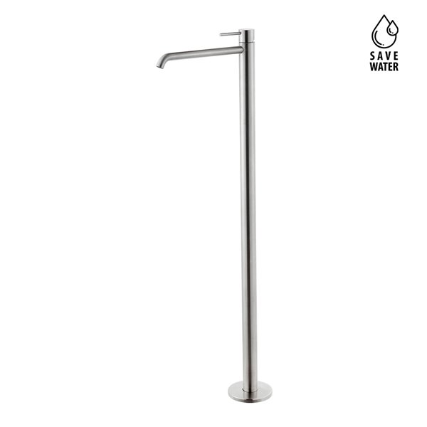 Single lever basin mixer with floor pillar union