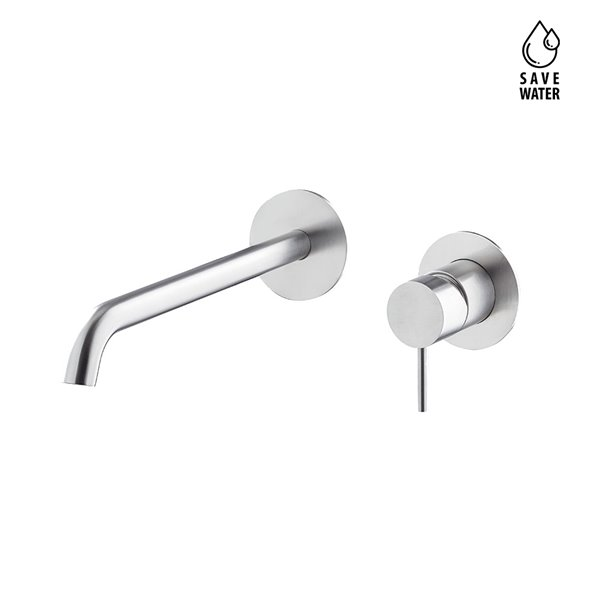 Single lever wall mixer group, without pop-up waste set.