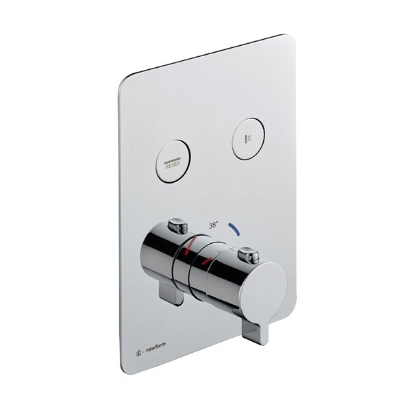 Two ways out thermostatic concealed mixer with one handle for temperature control and buttons ON/OFF.